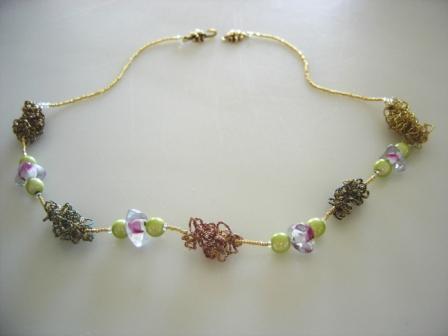 FIFIANY TWO Glass and Wiber Beaded Necklace